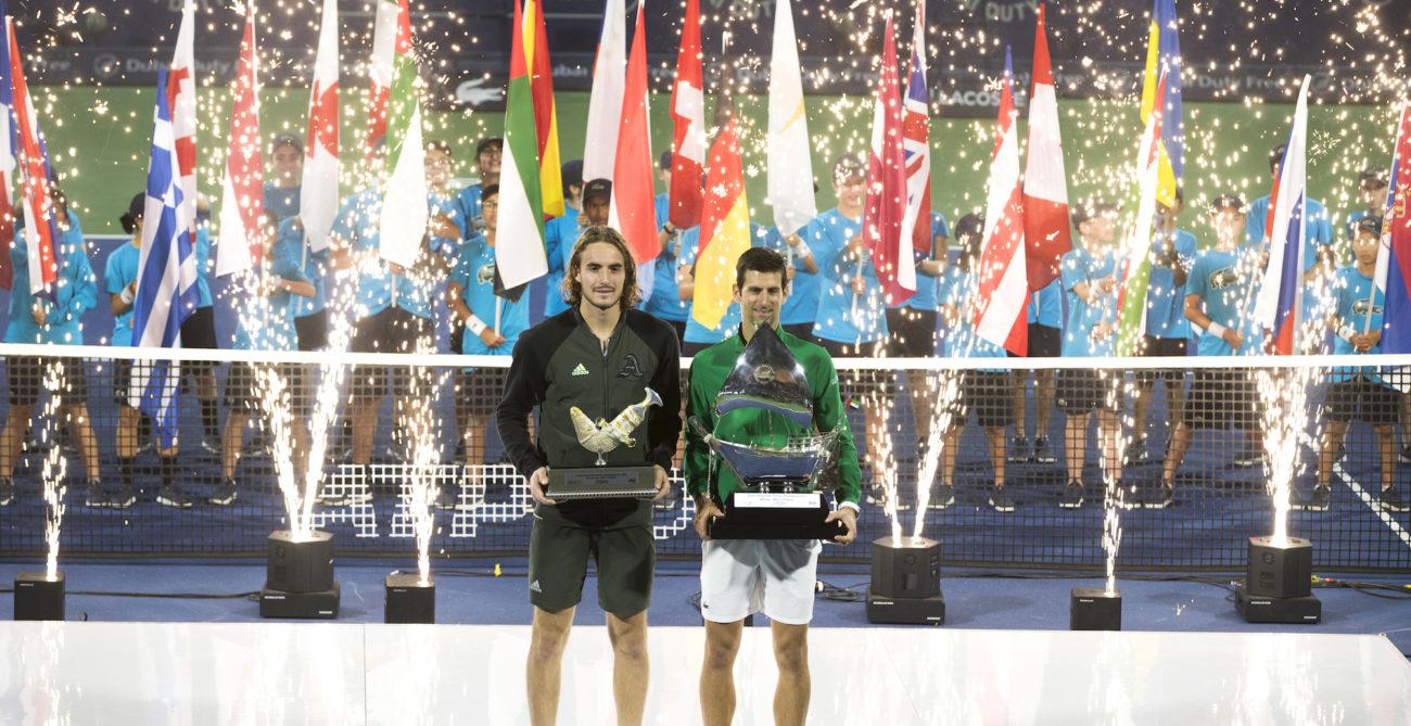 Tsitsipas and Djokovic trophy 2020